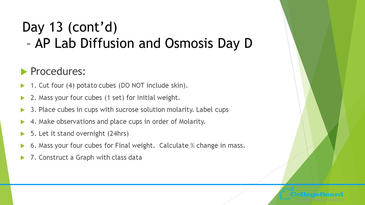 Day 13 (cont'd) – AP Lab Diffusion and Osmosis Day D  Procedures:  1.