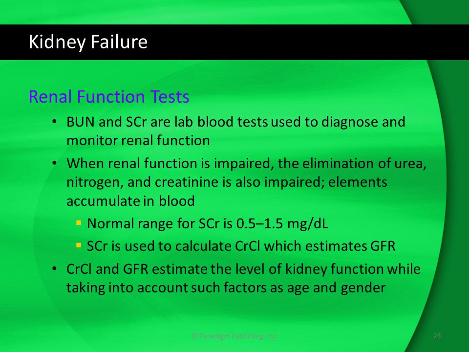 Kidney Failure Renal Function Tests BUN and SCr are lab blood tests used to diagnose and monitor renal function When renal function is impaired, the e