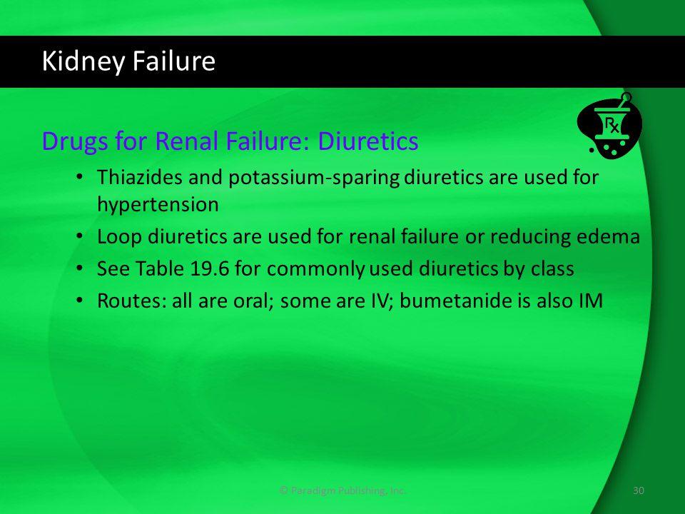 Kidney Failure Drugs for Renal Failure: Diuretics Thiazides and potassium-sparing diuretics are used for hypertension Loop diuretics are used for rena