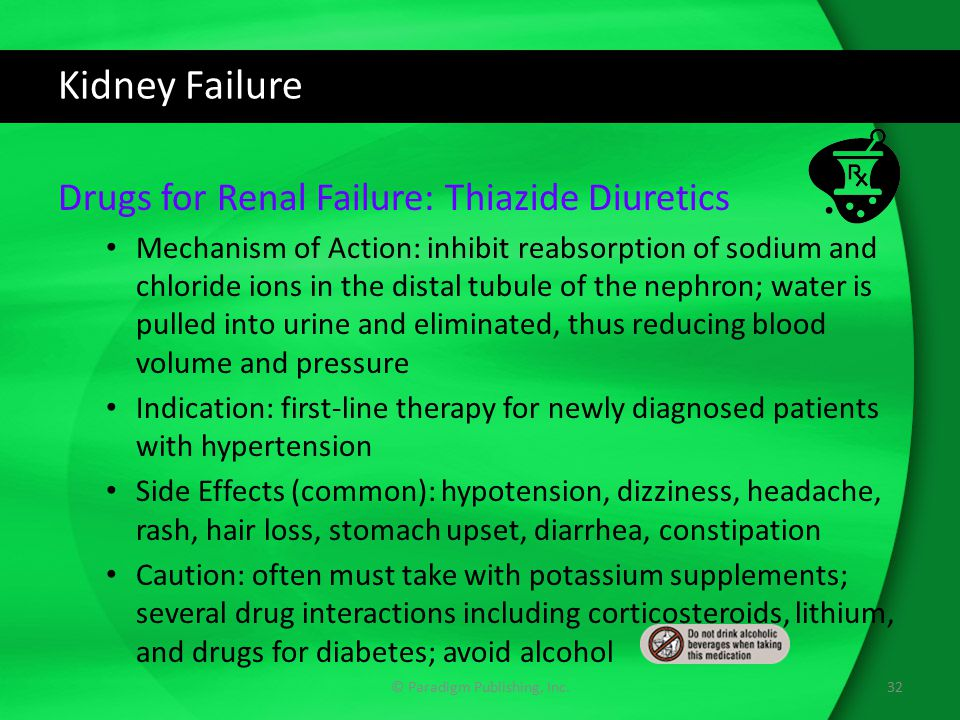 Kidney Failure Drugs for Renal Failure: Thiazide Diuretics Mechanism of Action: inhibit reabsorption of sodium and chloride ions in the distal tubule