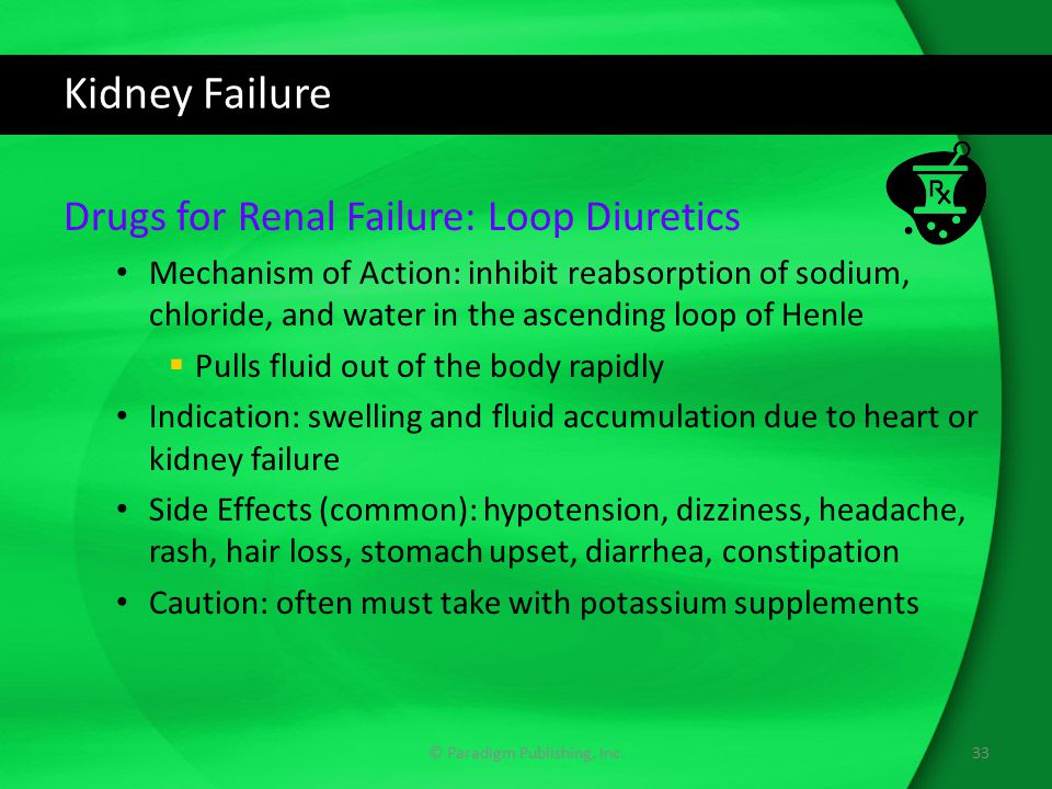 Kidney Failure Drugs for Renal Failure: Loop Diuretics Mechanism of Action: inhibit reabsorption of sodium, chloride, and water in the ascending loop