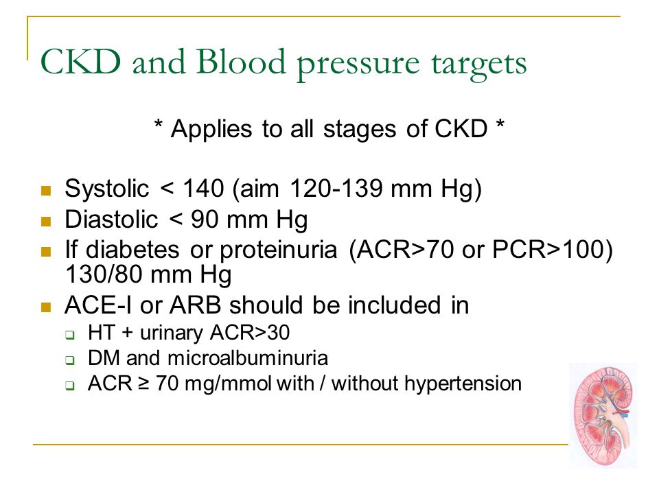 CKD and Blood pressure targets * Applies to all stages of CKD * Systolic < 140 (aim 120-139 mm Hg) Diastolic < 90 mm Hg If diabetes or proteinuria (ACR>70 or PCR>100) 130/80 mm Hg ACE-I or ARB should be included in  HT + urinary ACR>30  DM and microalbuminuria  ACR ≥ 70 mg/mmol with / without hypertension