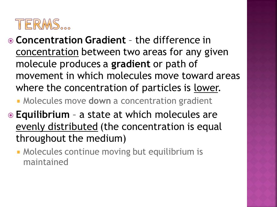  Concentration Gradient – the difference in concentration between two areas for any given molecule produces a gradient or path of movement in which molecules move toward areas where the concentration of particles is lower.