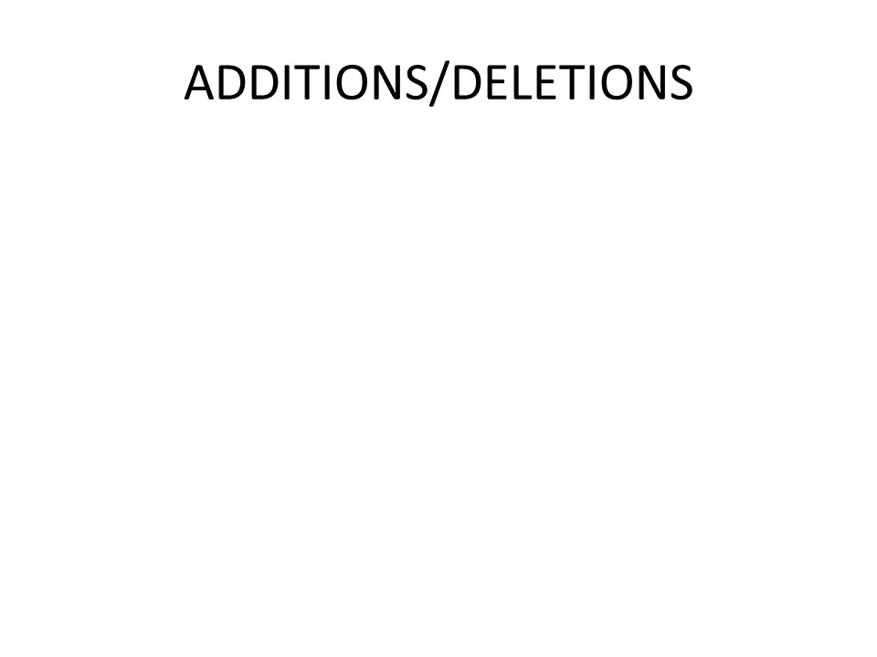 ADDITIONS/DELETIONS