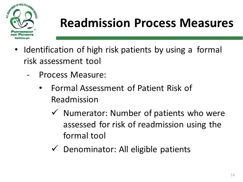 14 Readmission Process Measures Identification of high risk patients by using a formal risk assessment tool -Process Measure: Formal Assessment of Pat
