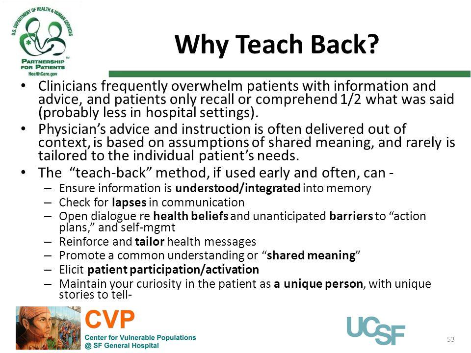 Why Teach Back.