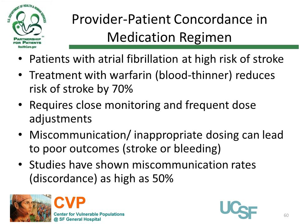 Provider-Patient Concordance in Medication Regimen 60 Patients with atrial fibrillation at high risk of stroke Treatment with warfarin (blood-thinner) reduces risk of stroke by 70% Requires close monitoring and frequent dose adjustments Miscommunication/ inappropriate dosing can lead to poor outcomes (stroke or bleeding) Studies have shown miscommunication rates (discordance) as high as 50%
