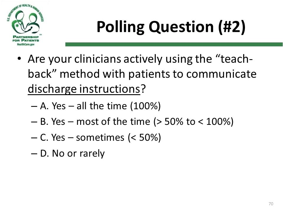 "Polling Question (#2) Are your clinicians actively using the ""teach- back"" method with patients to communicate discharge instructions? – A. Yes – all"