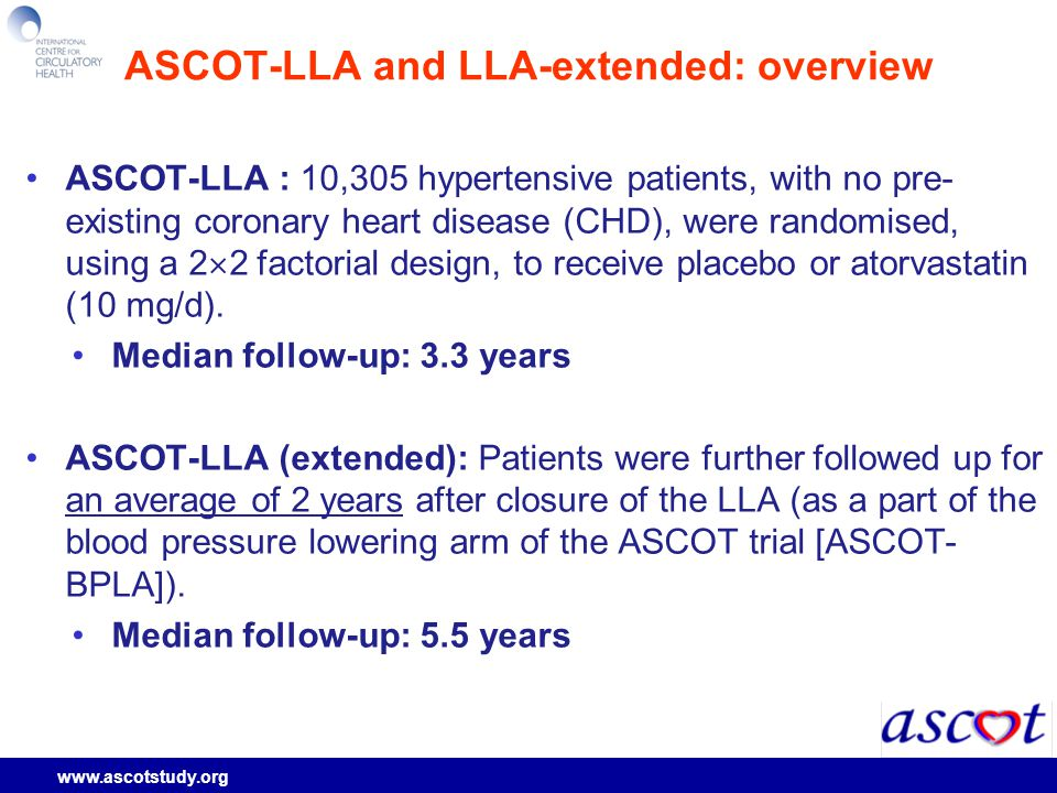 www.ascotstudy.org ASCOT-LLA and LLA-extended: overview ASCOT-LLA : 10,305 hypertensive patients, with no pre- existing coronary heart disease (CHD), were randomised, using a 2  2 factorial design, to receive placebo or atorvastatin (10 mg/d).