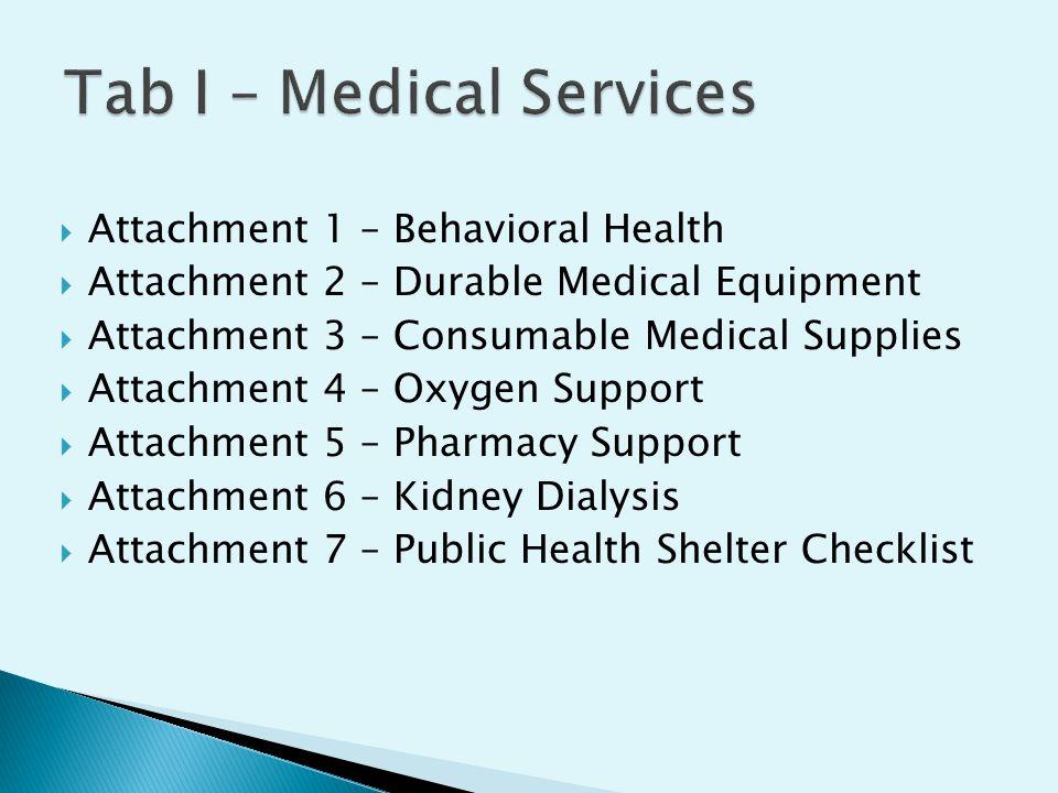  Attachment 1 – Behavioral Health  Attachment 2 – Durable Medical Equipment  Attachment 3 – Consumable Medical Supplies  Attachment 4 – Oxygen Support  Attachment 5 – Pharmacy Support  Attachment 6 – Kidney Dialysis  Attachment 7 – Public Health Shelter Checklist