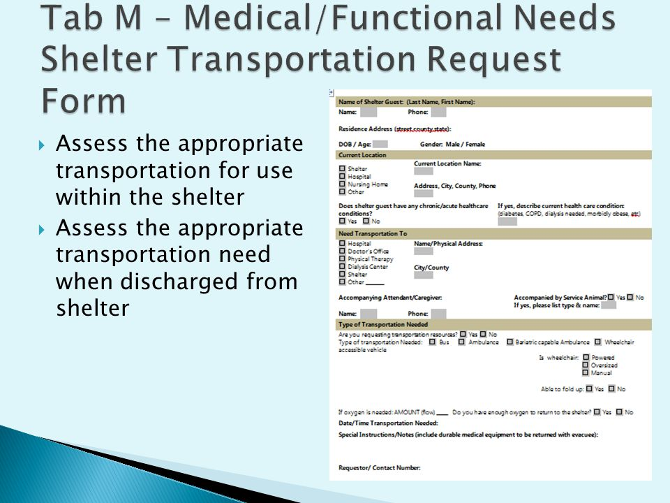  Assess the appropriate transportation for use within the shelter  Assess the appropriate transportation need when discharged from shelter