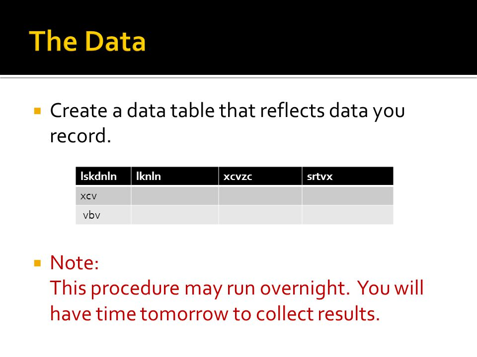  Create a data table that reflects data you record.