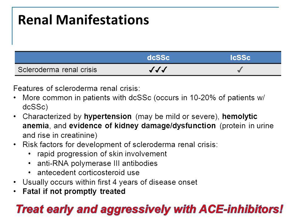 Renal Manifestations dcSSclcSSc Scleroderma renal crisis ✔✔✔✔