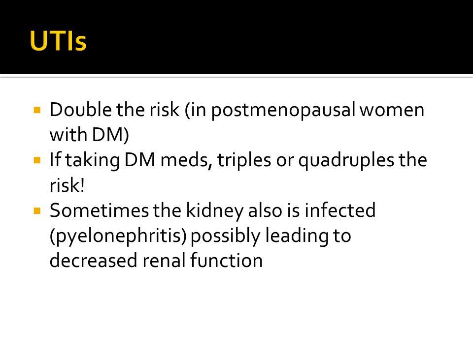  Double the risk (in postmenopausal women with DM)  If taking DM meds, triples or quadruples the risk.