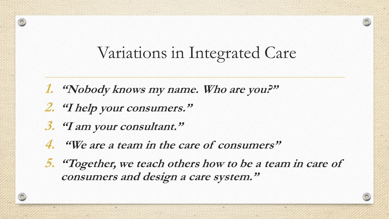 Variations in Integrated Care 1. Nobody knows my name.