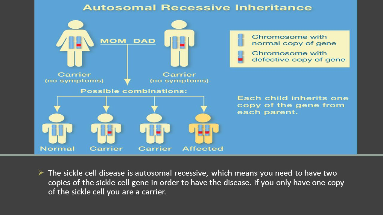  The sickle cell disease is autosomal recessive, which means you need to have two copies of the sickle cell gene in order to have the disease. If you