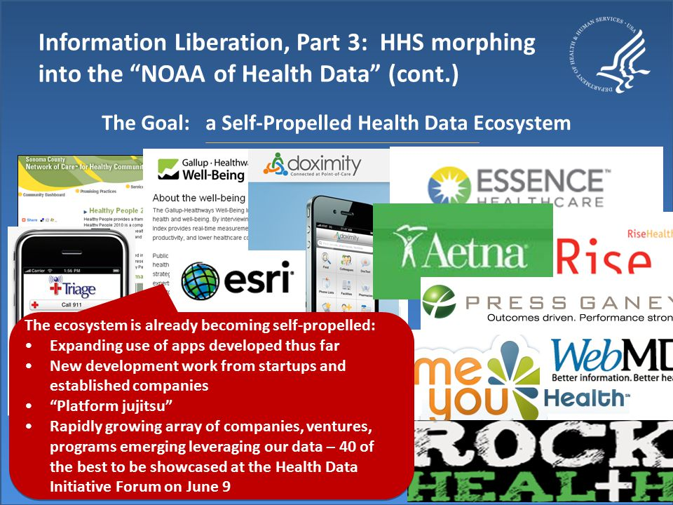 Information Liberation, Part 3: HHS morphing into the NOAA of Health Data (cont.) The Goal: a Self-Propelled Health Data Ecosystem The ecosystem is already becoming self-propelled: Expanding use of apps developed thus far New development work from startups and established companies Platform jujitsu Rapidly growing array of companies, ventures, programs emerging leveraging our data – 40 of the best to be showcased at the Health Data Initiative Forum on June 9 The ecosystem is already becoming self-propelled: Expanding use of apps developed thus far New development work from startups and established companies Platform jujitsu Rapidly growing array of companies, ventures, programs emerging leveraging our data – 40 of the best to be showcased at the Health Data Initiative Forum on June 9