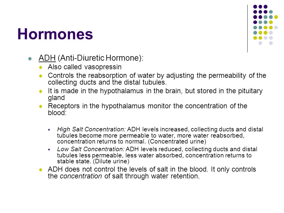 Hormones ADH (Anti-Diuretic Hormone): Also called vasopressin Controls the reabsorption of water by adjusting the permeability of the collecting ducts