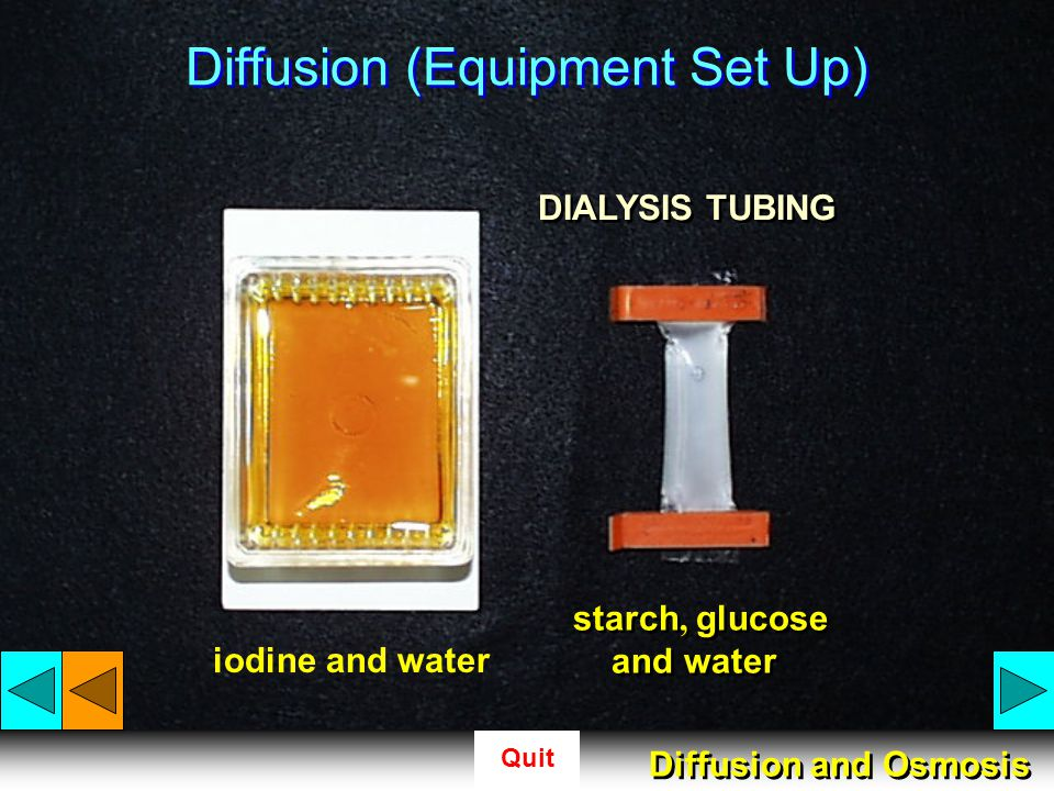 Quit In DIFFUSION, particles travel from an area of high concentration to an area of low concentration As particles migrate through a membrane in this way, movement is described to be traveling down a concentration gradient Diffusion and Osmosis