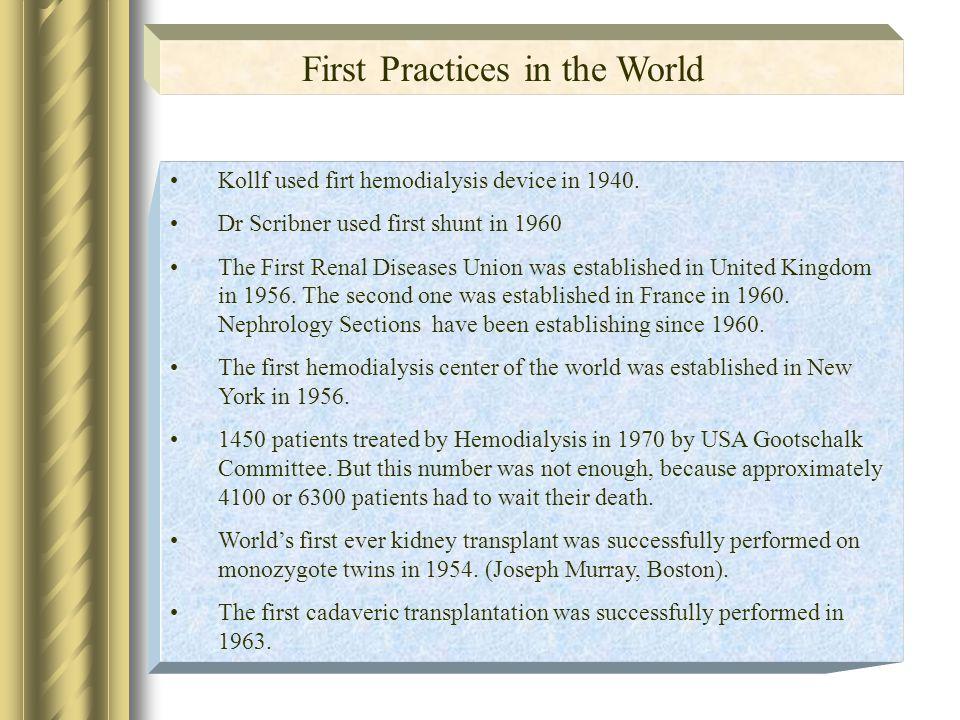 Kollf used firt hemodialysis device in 1940.