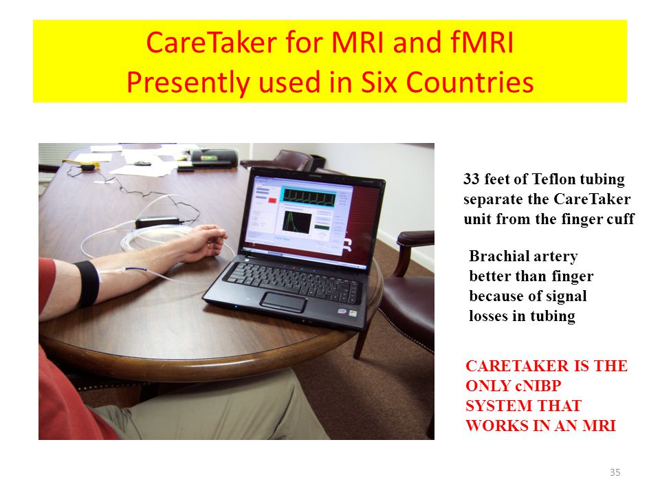 CareTaker for MRI and fMRI Presently used in Six Countries 33 feet of Teflon tubing separate the CareTaker unit from the finger cuff Brachial artery b