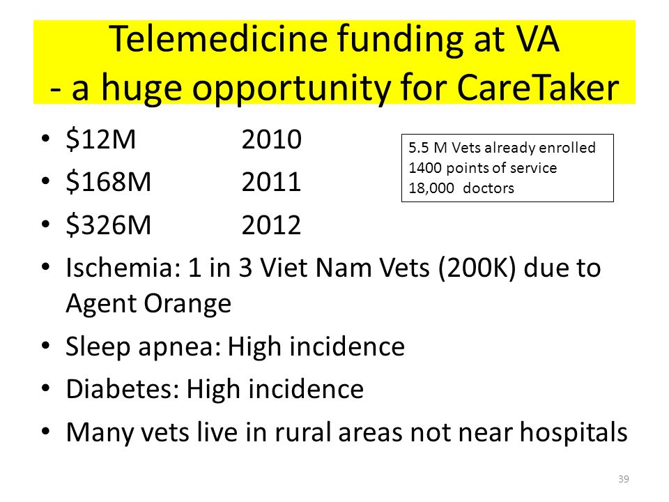 Telemedicine funding at VA - a huge opportunity for CareTaker $12M2010 $168M2011 $326M2012 Ischemia: 1 in 3 Viet Nam Vets (200K) due to Agent Orange S