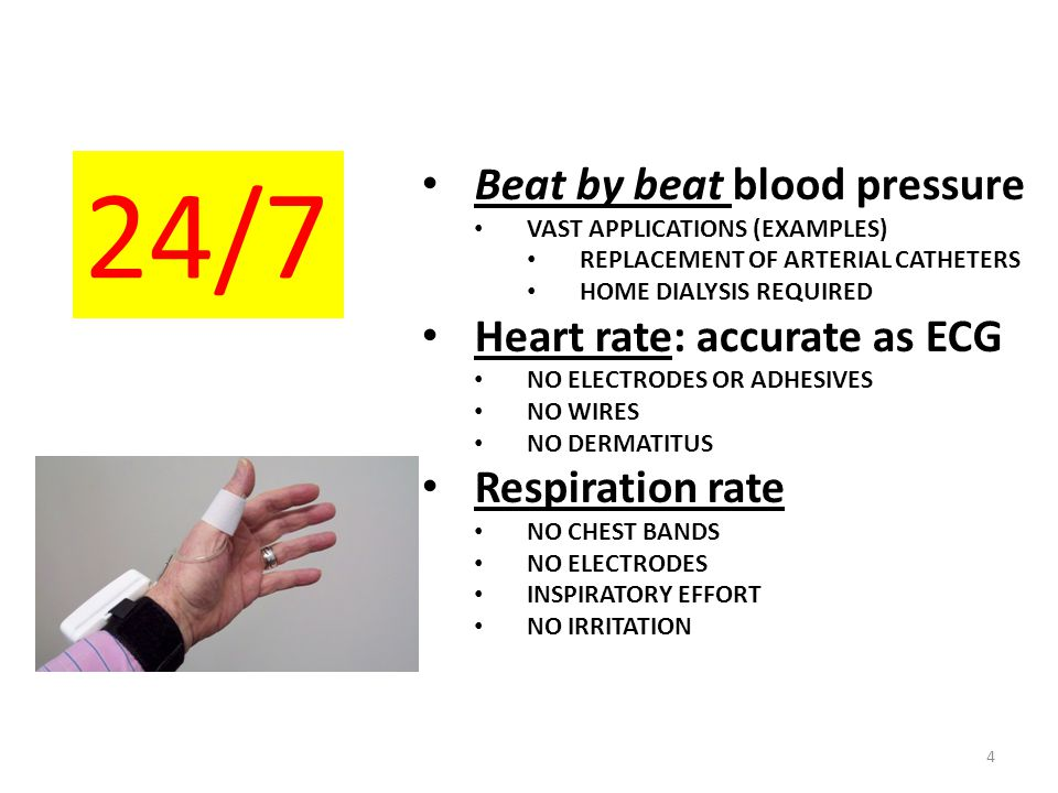Beat by beat blood pressure VAST APPLICATIONS (EXAMPLES) REPLACEMENT OF ARTERIAL CATHETERS HOME DIALYSIS REQUIRED Heart rate: accurate as ECG NO ELECT