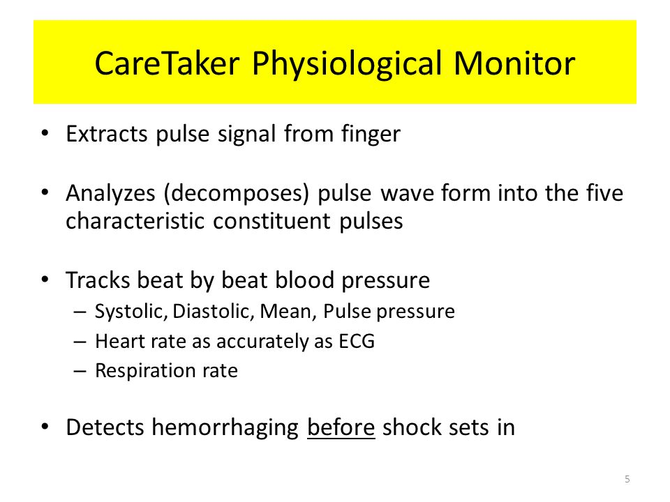 CareTaker Physiological Monitor Extracts pulse signal from finger Analyzes (decomposes) pulse wave form into the five characteristic constituent pulse