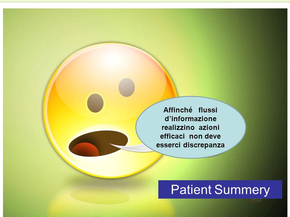 Affinché flussi d'informazione realizzino azioni efficaci non deve esserci discrepanza Patient Summery