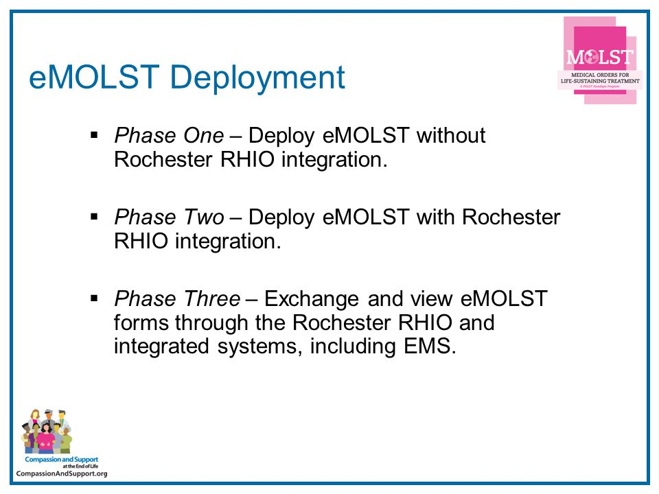 10 eMOLST Deployment  Phase One – Deploy eMOLST without Rochester RHIO integration.