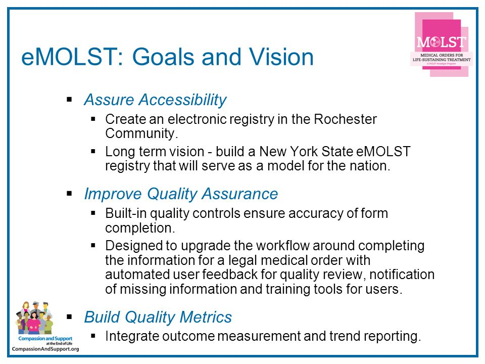 9 eMOLST: Goals and Vision  Assure Accessibility  Create an electronic registry in the Rochester Community.