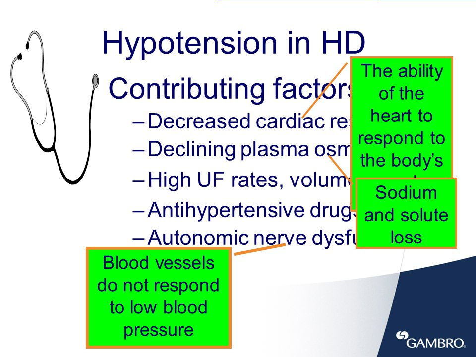 7 Assess dry weight accurately Assure the correct dialysate concentrations –Na+ > 140 mEq/l, bicarbonate buffer Use of sequential UF then dialysis Others –Lower dialysate temp from 37ºC to 35ºC –Proper positioning the patient –Normal saline bolus –Hypertonic saline Treatment of Hypotension And now, you can add Conductivity Profiling and/or Ultrafiltration Profiling to your list of treatment options.
