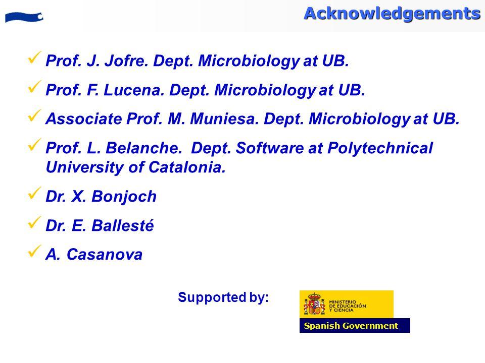 Prof. J. Jofre. Dept. Microbiology at UB. Prof. F. Lucena. Dept. Microbiology at UB. Associate Prof. M. Muniesa. Dept. Microbiology at UB. Prof. L. Be