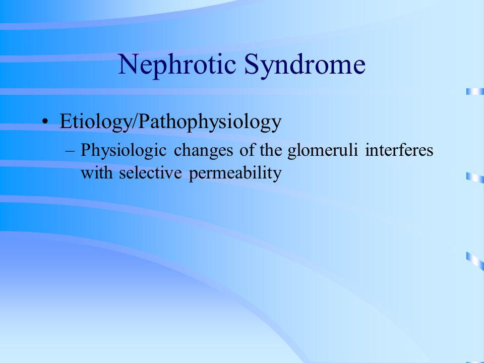 Nephrotic Syndrome Etiology/Pathophysiology –Physiologic changes of the glomeruli interferes with selective permeability
