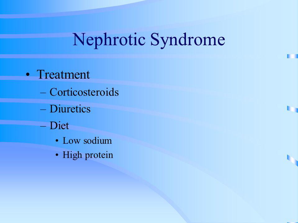 Nephrotic Syndrome Treatment –Corticosteroids –Diuretics –Diet Low sodium High protein