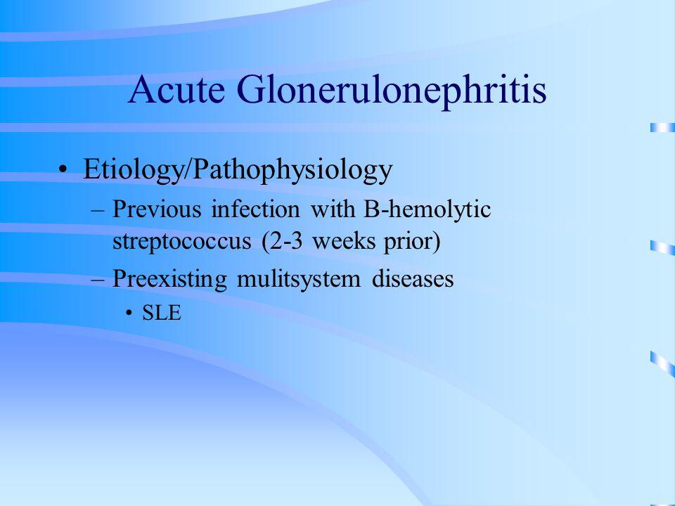 Acute Glonerulonephritis Etiology/Pathophysiology –Previous infection with B-hemolytic streptococcus (2-3 weeks prior) –Preexisting mulitsystem diseas