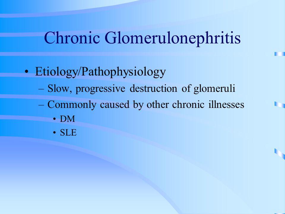 Chronic Glomerulonephritis Etiology/Pathophysiology –Slow, progressive destruction of glomeruli –Commonly caused by other chronic illnesses DM SLE