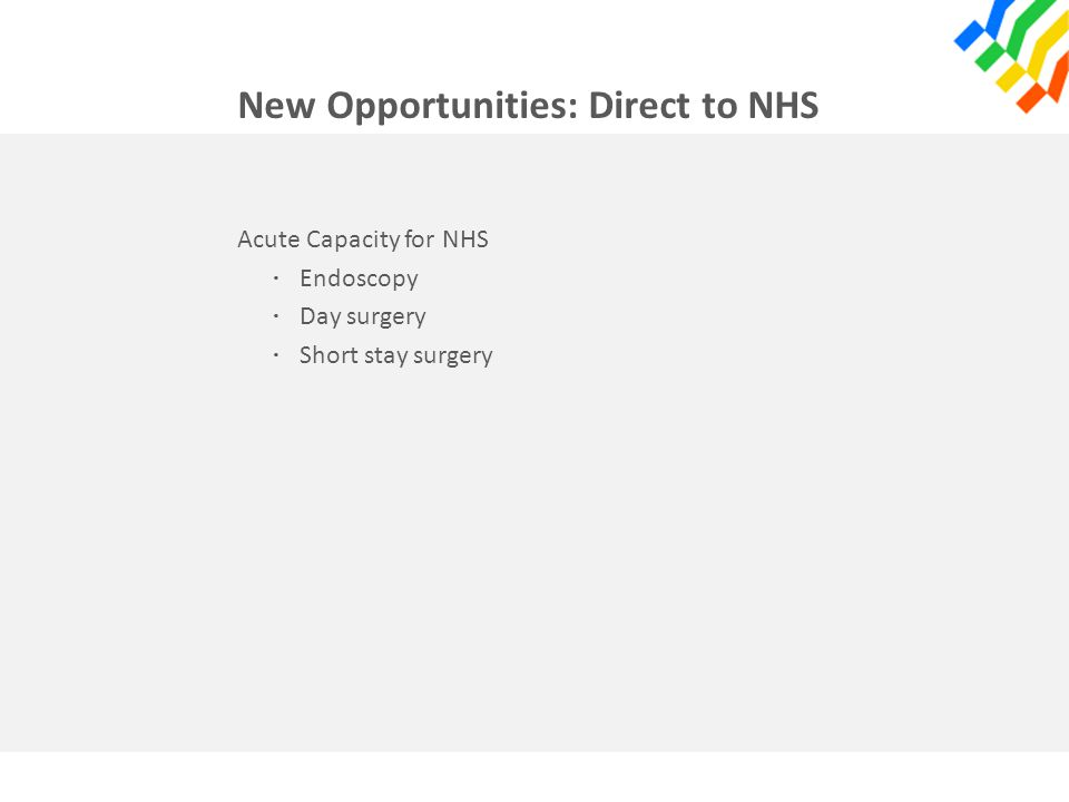 New Opportunities: Direct to NHS Acute Capacity for NHS · Endoscopy · Day surgery · Short stay surgery