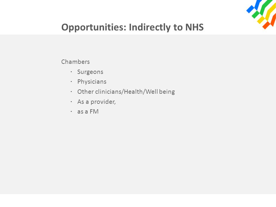 Opportunities: Indirectly to NHS Chambers · Surgeons · Physicians · Other clinicians/Health/Well being · As a provider, · as a FM