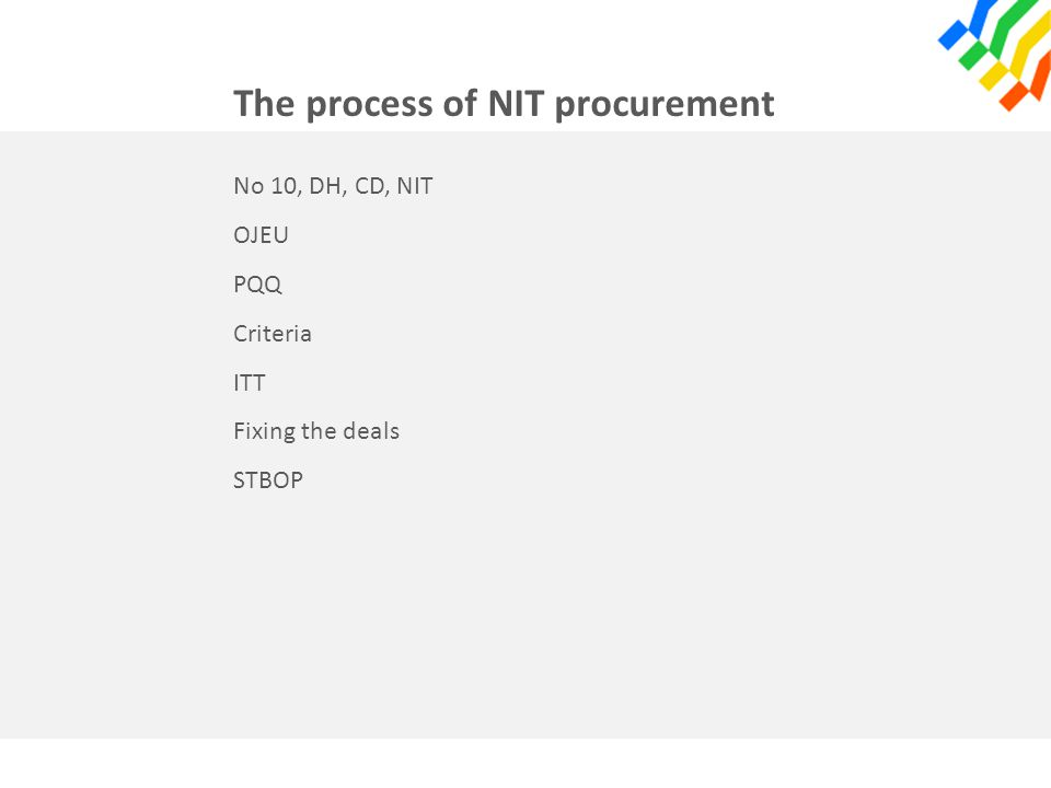 The process of NIT procurement No 10, DH, CD, NIT OJEU PQQ Criteria ITT Fixing the deals STBOP