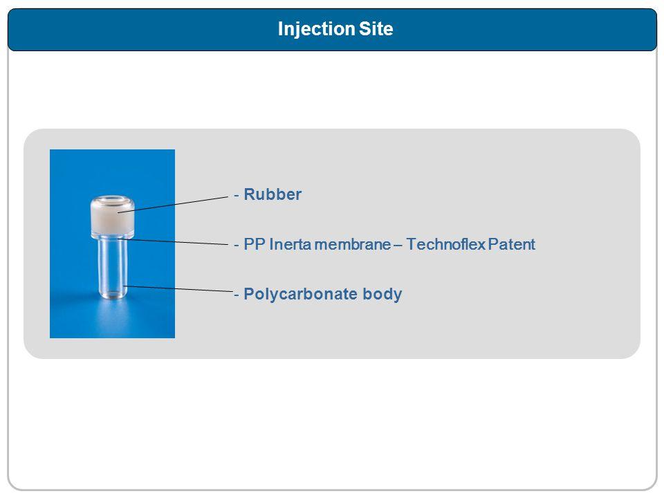 Injection Site - Rubber - PP Inerta membrane – Technoflex Patent - Polycarbonate body