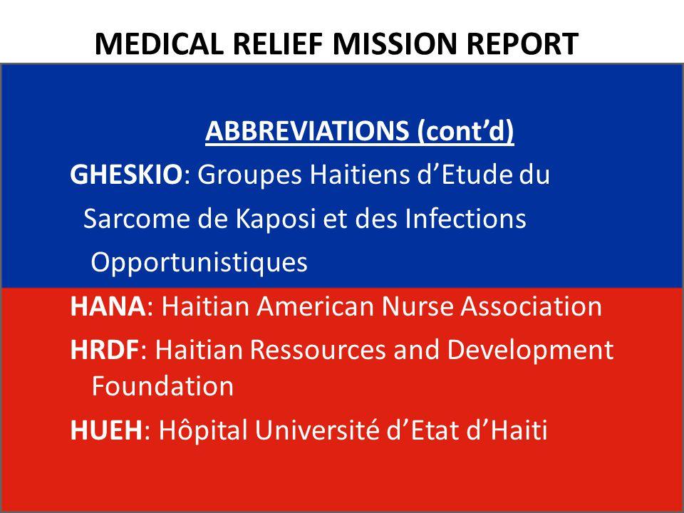 MEDICAL RELIEF MISSION REPORT ABBREVIATIONS (cont'd) GHESKIO: Groupes Haitiens d'Etude du Sarcome de Kaposi et des Infections Opportunistiques HANA: H
