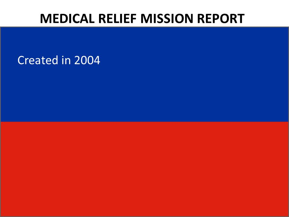 MEDICAL RELIEF MISSION REPORT Created in 2004
