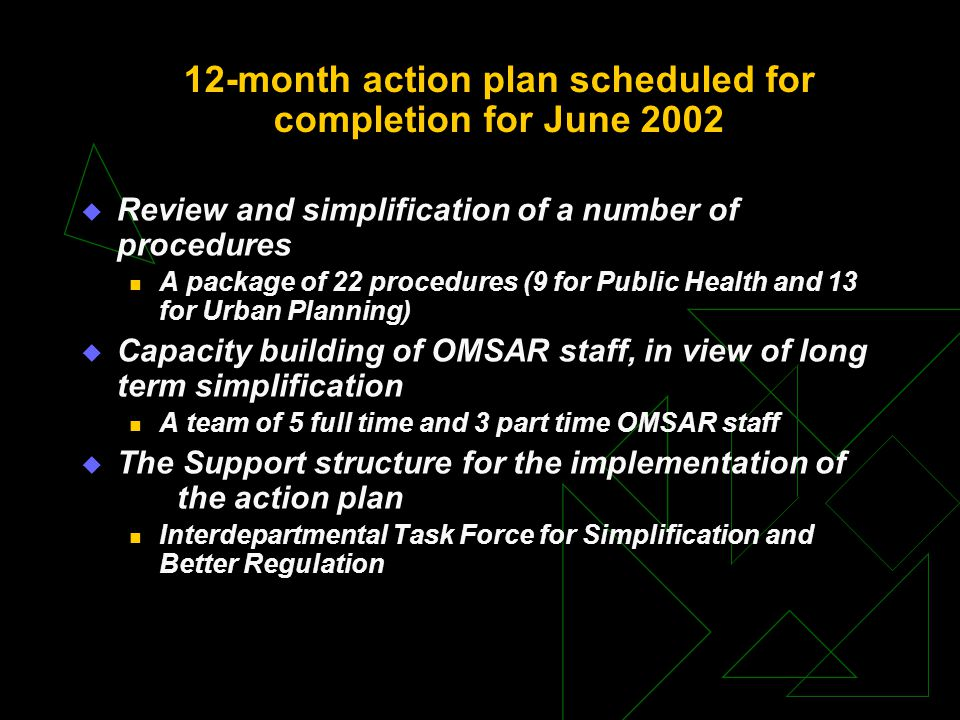 12-month action plan scheduled for completion for June 2002  Review and simplification of a number of procedures A package of 22 procedures (9 for Public Health and 13 for Urban Planning)  Capacity building of OMSAR staff, in view of long term simplification A team of 5 full time and 3 part time OMSAR staff  The Support structure for the implementation of the action plan Interdepartmental Task Force for Simplification and Better Regulation