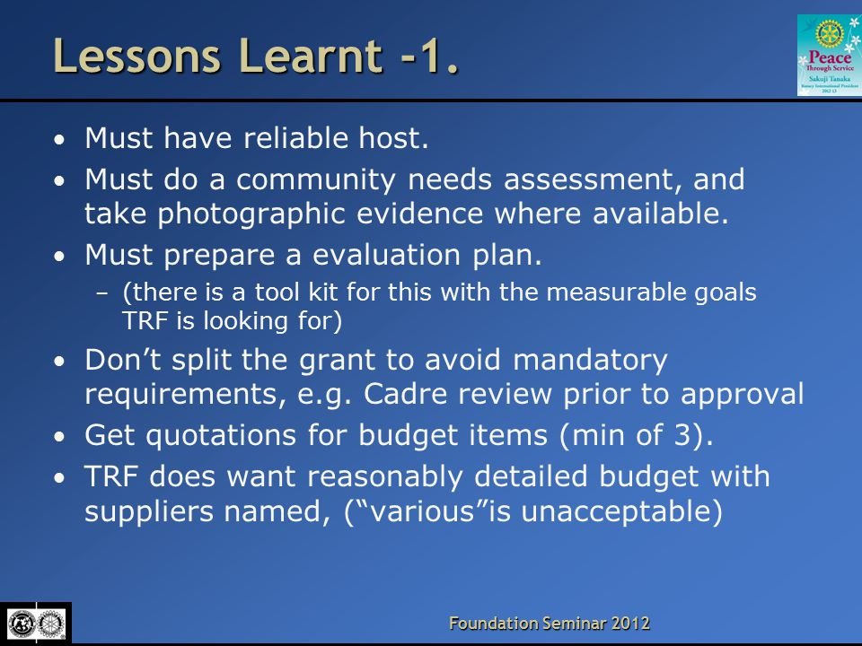 Foundation Seminar 2012 Lessons Learnt -2.