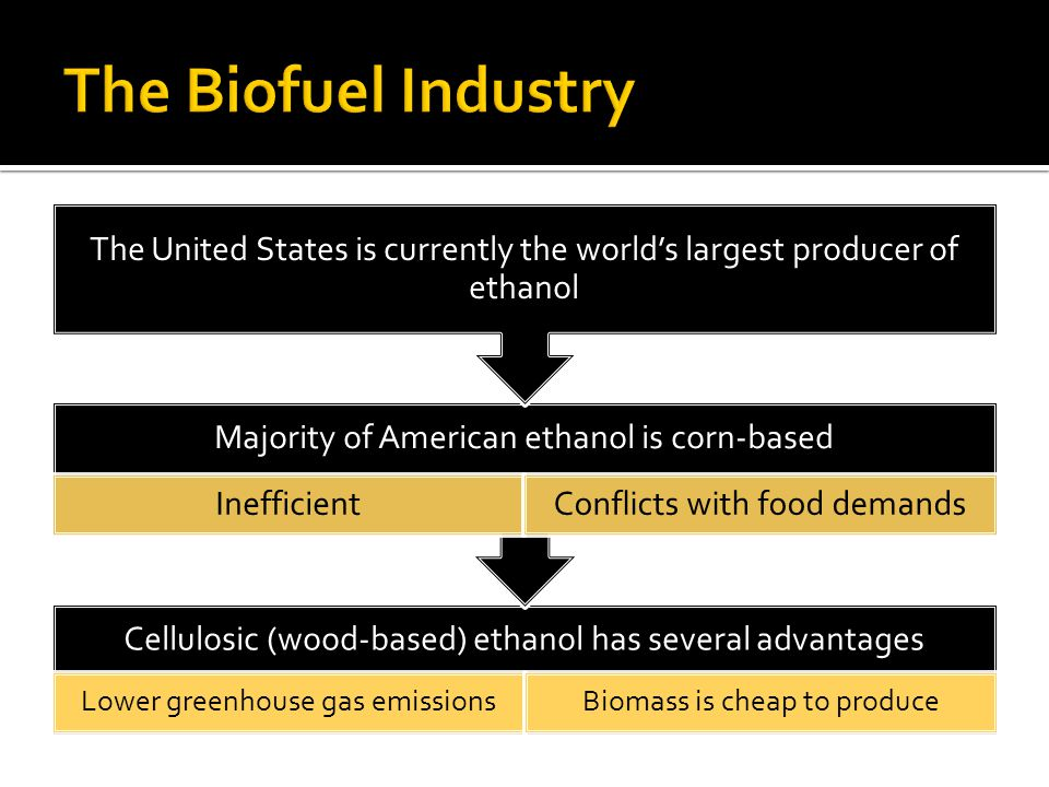 Cellulosic (wood-based) ethanol has several advantages Lower greenhouse gas emissionsBiomass is cheap to produce Majority of American ethanol is corn-based InefficientConflicts with food demands The United States is currently the world's largest producer of ethanol