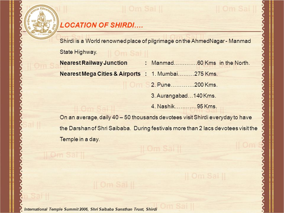 LOCATION OF SHIRDI….
