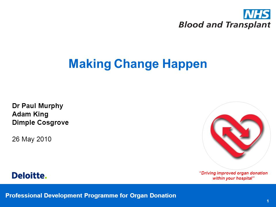 Professional Development Programme for Organ Donation Roles and Responsibilities ResponsibleAccountableConsultedInformed Annual Organ Donation Plan Specialist Nurse for Organ Donation, CLOD & Committee Chair Donation Committee Executive Board EM / ICU Departments Senior Nurses, other Clinicians & Healthcare Professionals NHSBT Medical Director & Director of Nursing Chief Executive Governance Committee Annual Report for Organ Donation Specialist Nurse for Organ Donation, CLOD & Committee Chair Donation Committee Executive Board Senior Nurses, other Clinicians & Healthcare Professionals NHSBT Medical Director & Director of Nursing Chief Executive Governance Committee Hospital Policy Specialist Nurse for Organ Donation & CLOD Donation Committee Portering/ Lab Staff Senior Nurses, other Clinicians & Healthcare Professionals Other hospital staff Medical Director & Director of Nursing Chief Executive Governance Committee Unit Profile Specialist Nurse for Organ Donation Clinical Lead Other clinicians Unit clinicians PDA Specialist Nurse for Organ Donation & CLOD NHSBT Other cliniciansDonation committee Other clinicians Chief Executive Medical Director & Director of Nursing 32