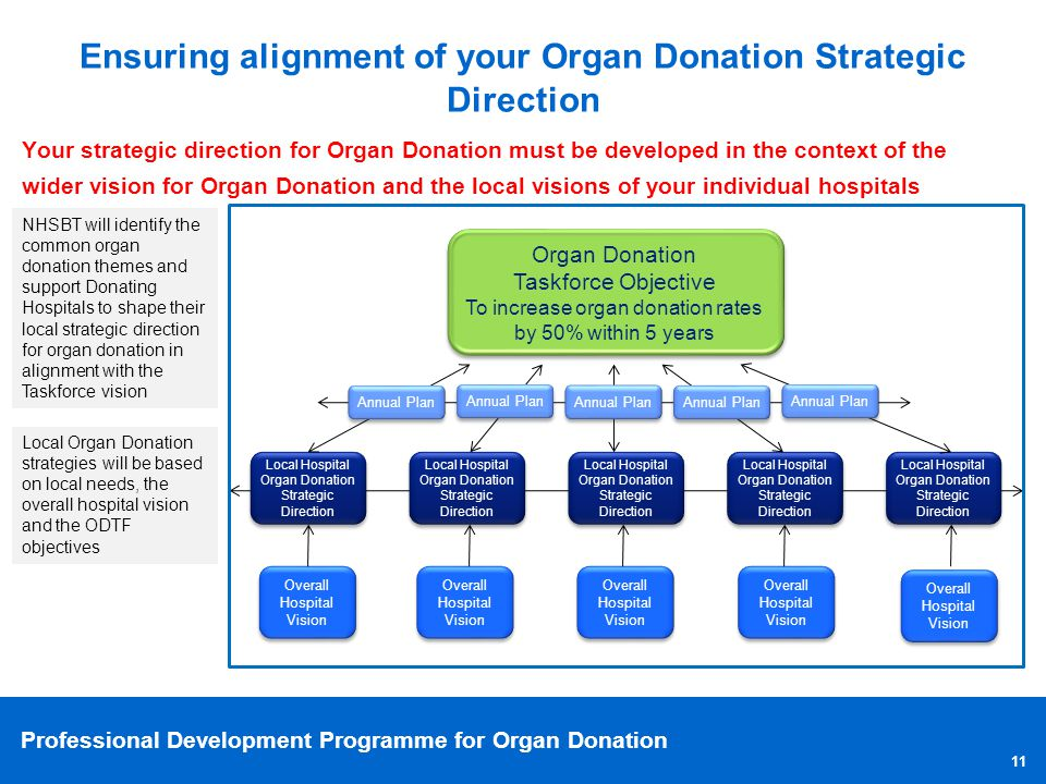 Professional Development Programme for Organ Donation Your strategic direction for Organ Donation must be developed in the context of the wider vision