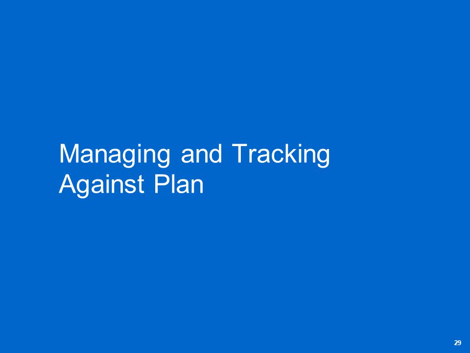 Managing and Tracking Against Plan 29